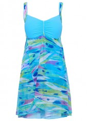 Open Back Printed Overlap Blue Swimdress