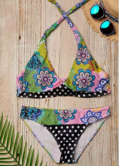 Tie Back Printed Low Waist Halter Bikini Set