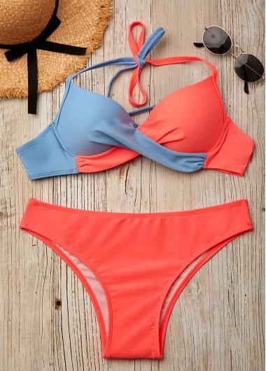 Color Block Twist Front Halter Bikini Set