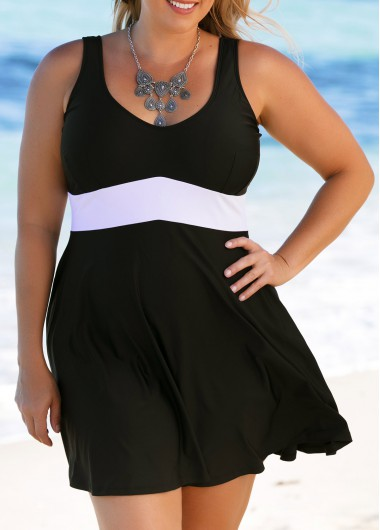 Image of Black Scoop Back Plus Size Swimdress and Panty