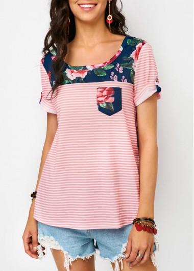 Chest Pocket Flower Print T Shirt
