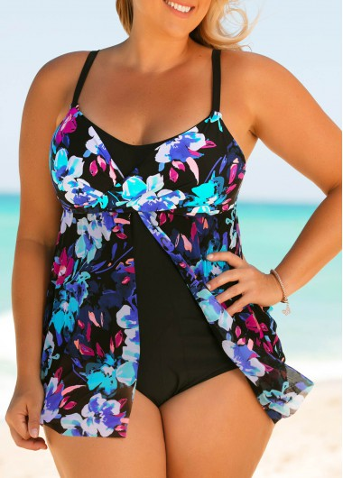 Plus Size Front Slit Printed One Piece Swimwear