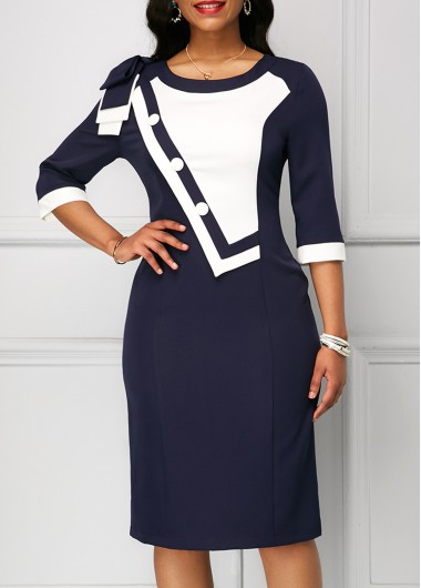 Zipper Back Bowknot Shoulder Navy Sheath Dress