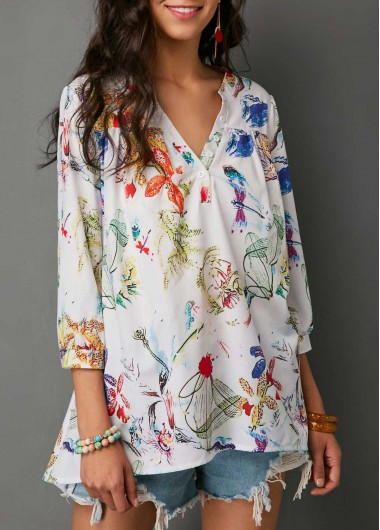 Printed Three Quarter Sleeve Split Neck Blouse