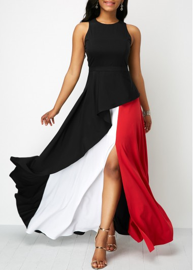 Front Slit Sleeveless Round Neck Maxi Dress