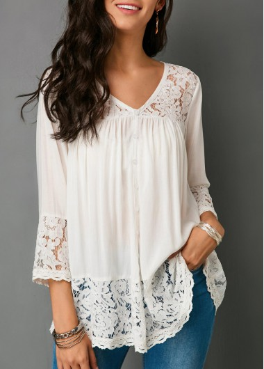 Women's 3/4 Sleeve V Neck Lace White Top - L
