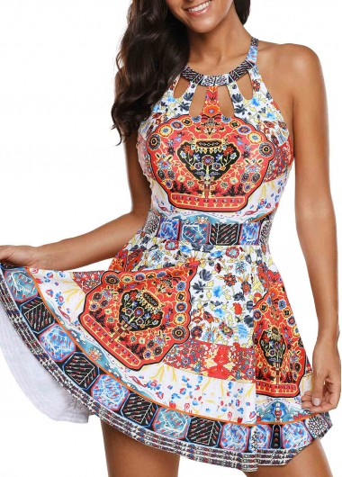 Cutout H Back Printed Swimdress and Shorts