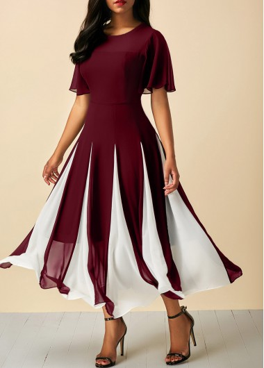 Round Neck Short Sleeve Wine Red Dress