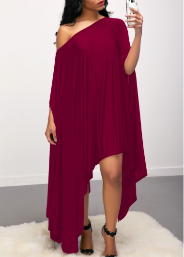 Purple Red Skew Neck Batwing Sleeve Dress