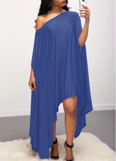 Blue Batwing Sleeve Asymmetric Hem Dress