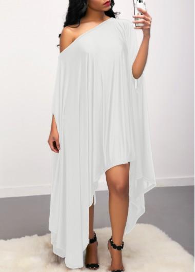 Image of Batwing Sleeve Asymmetric Hem White Dress
