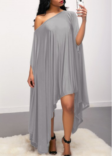 Grey Skew Neck Batwing Sleeve Asymmetric Hem Dress