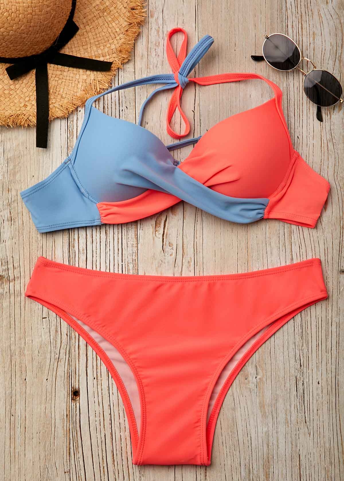 0775848ed3 Color Block Twist Front Halter Bikini Set | modlily.com - USD $14.72