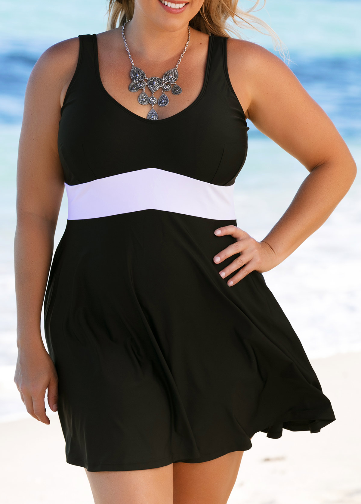Black Scoop Back Plus Size Swimdress and Panty
