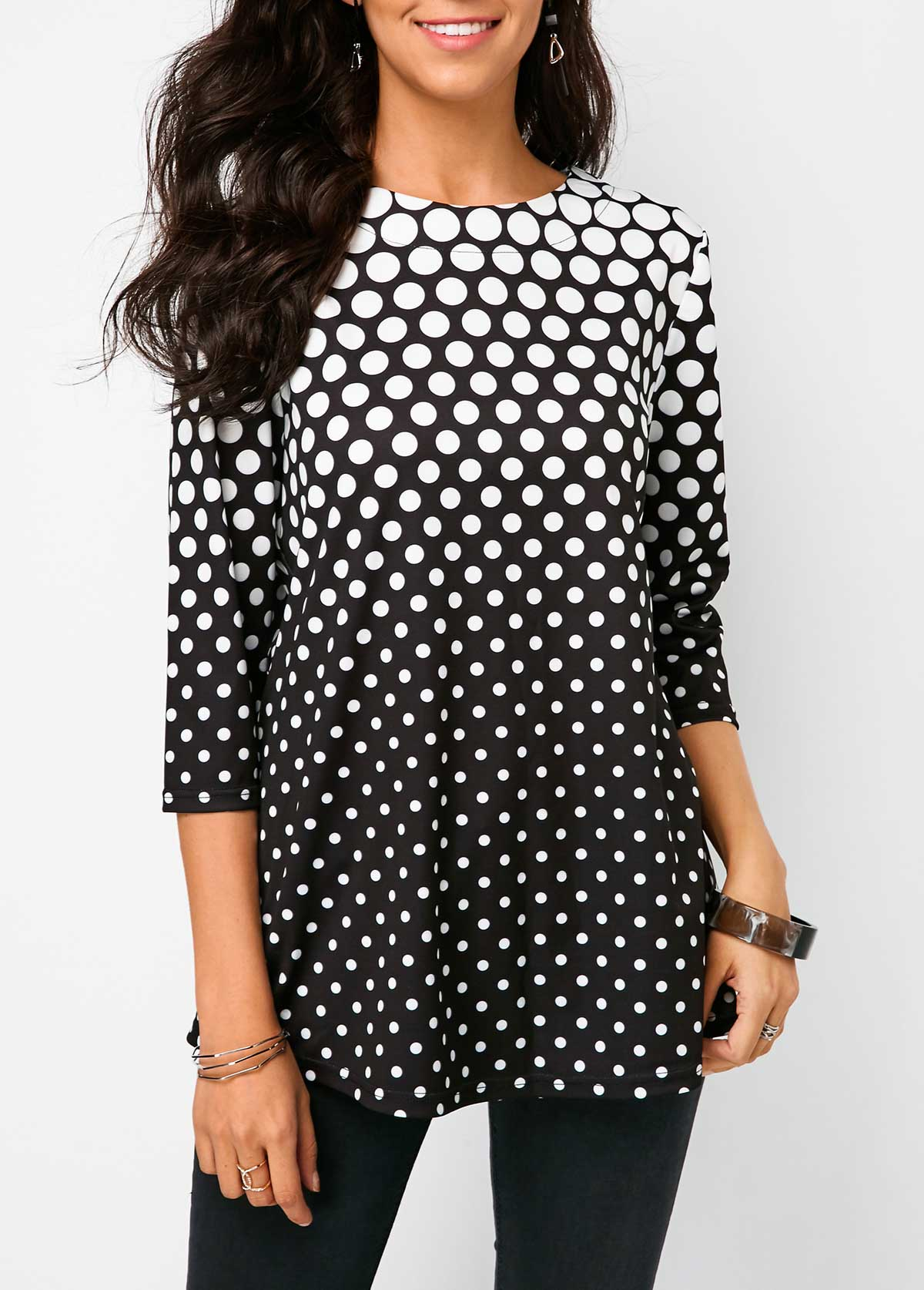 Polka Dot Print Black Three Quarter Sleeve Blouse