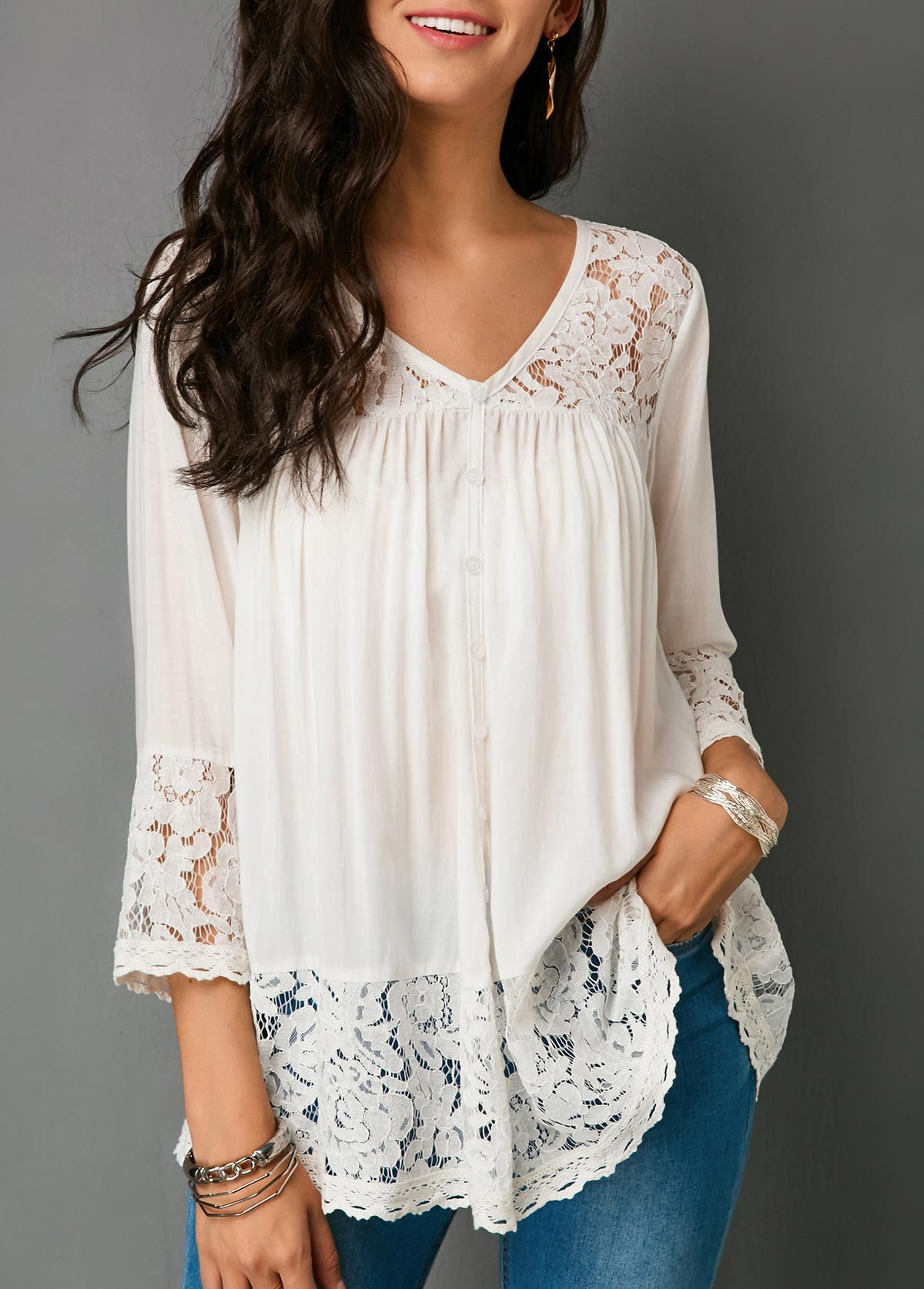 Lace Patchwork Button Up White Blouse