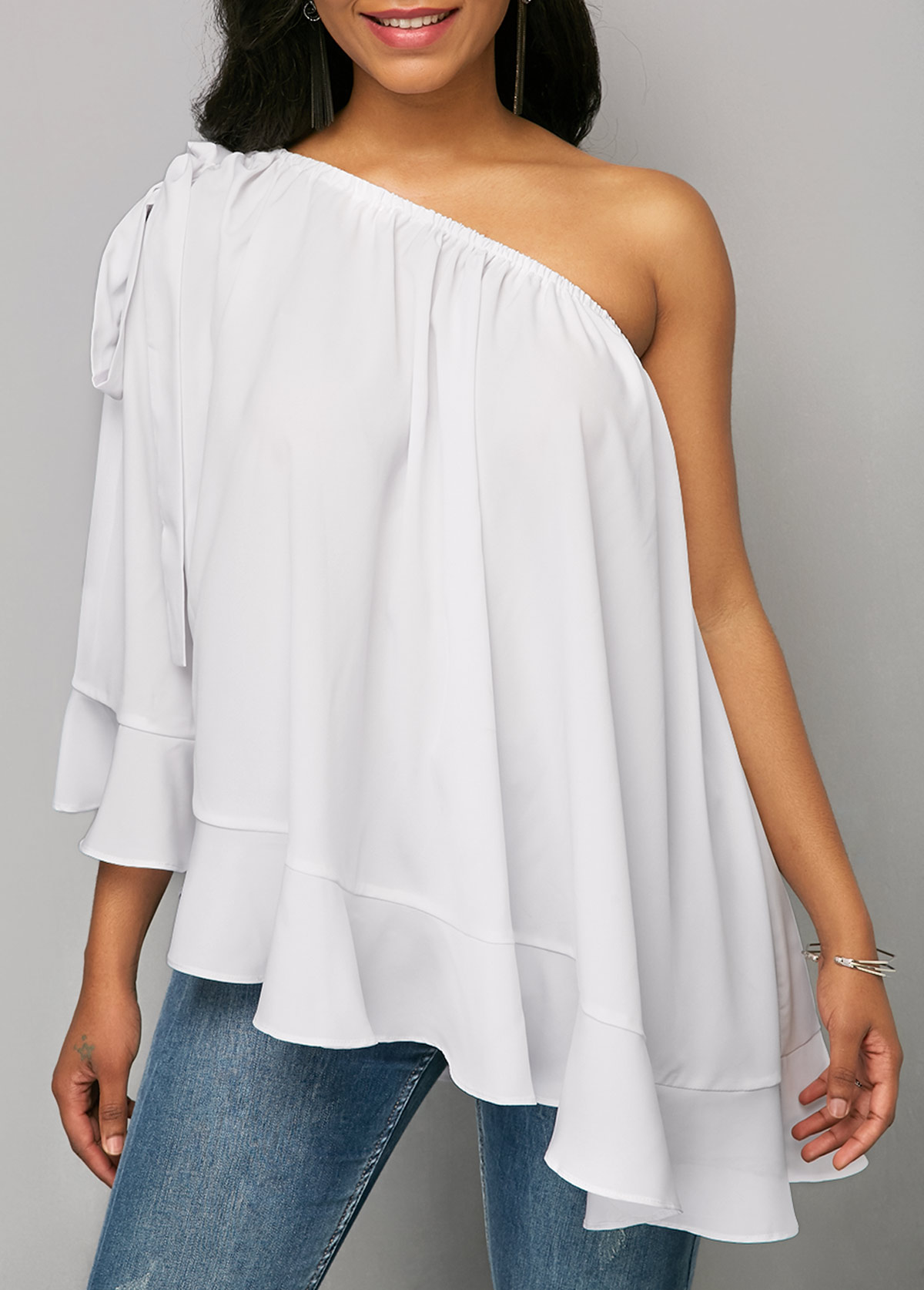 Solid White One Shoulder Ruffle Blouse