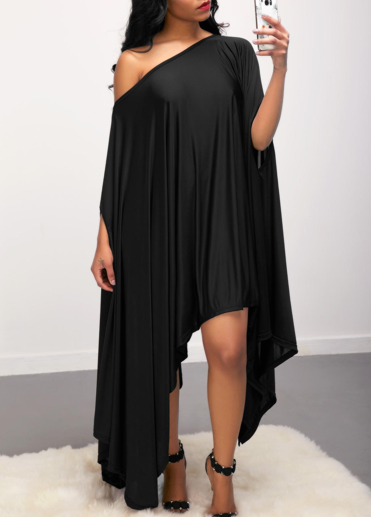Black Skew Neck Batwing Sleeve Asymmetric Hem Dress