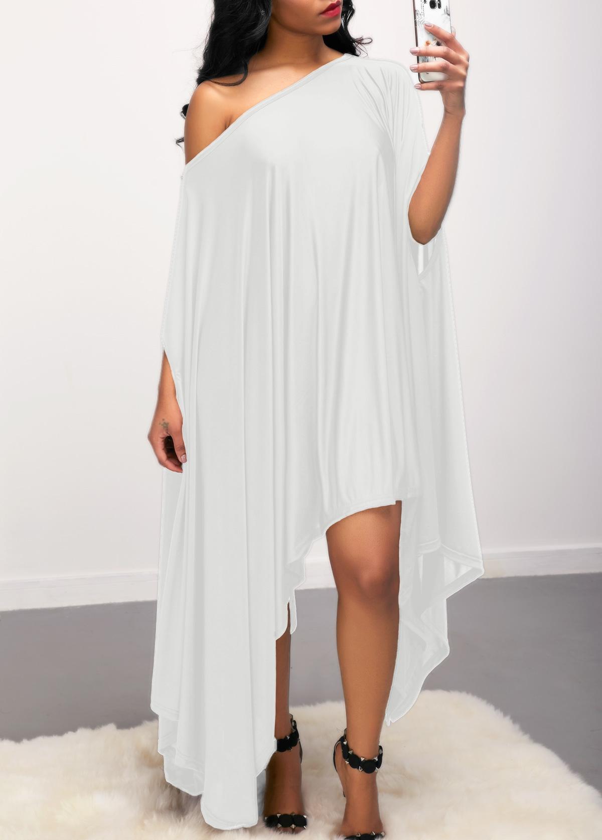Batwing Sleeve Asymmetric Hem White Dress