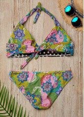 wholesale Tie Back Printed Low Waist Halter Bikini Set