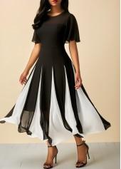 Patchwork-Short-Sleeve-Round-Neck-Dress