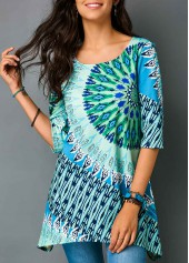 wholesale Asymmetric Hem Half Sleeve Printed Blouse
