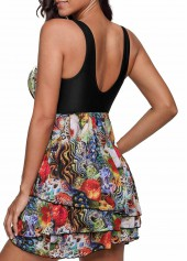 wholesale Scoop Back Printed Layered One Piece Swimdress