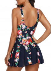 wholesale Floral Print Scoop Back One Piece Swimdress