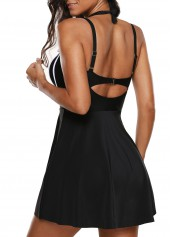 wholesale Cutout Back Halter Neck Printed One Piece Swimdress