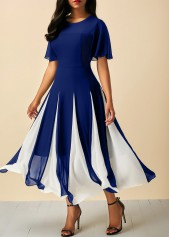 Round Neck Butterfly Sleeve Navy Dress