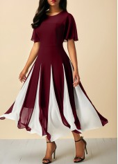 Round Neck Short Sleeve Wine Red Dress