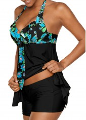 wholesale Asymmetric Hem Floral Print Black Tankini Set