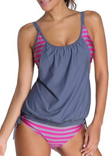 Open Back Printed Grey and Rose Tankini Swimwear