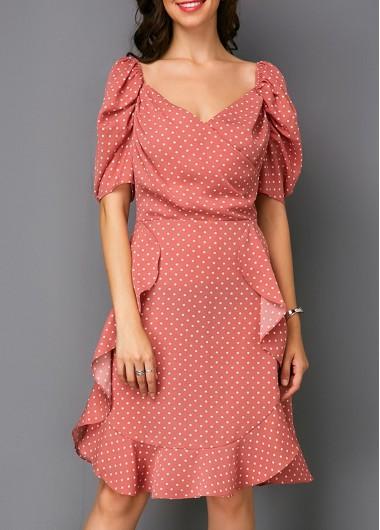 Puff Sleeve Polka Dot Print Layered Chiffon Dress