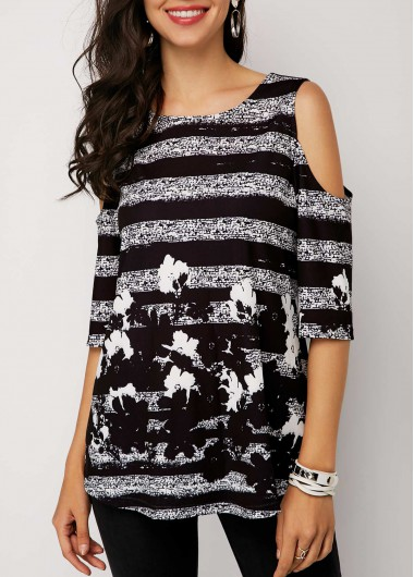 Cold Shoulder Half Sleeve Printed T Shirt - M