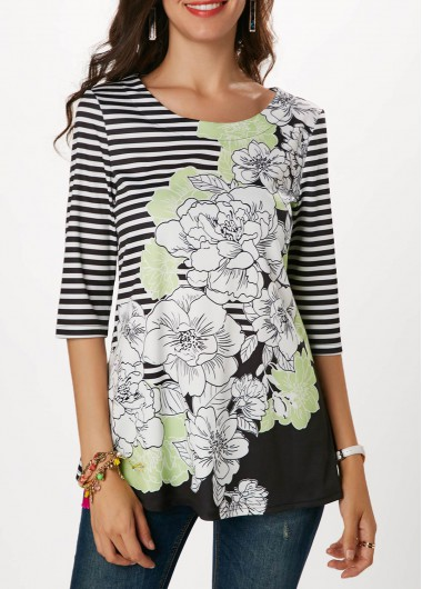 Stripe and Flower Print Round Neck Blouse