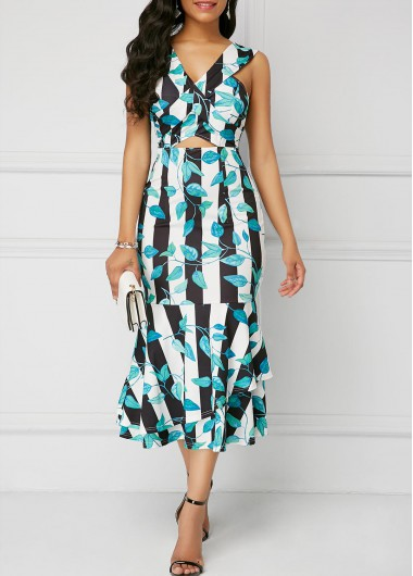 Printed Cutout Front Sleeveless Mermaid Dress