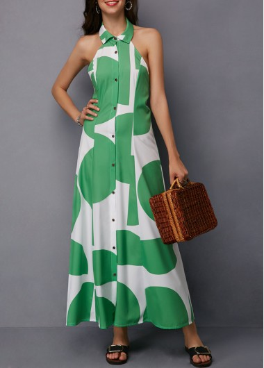 Button Up Sleeveless Backless Maxi Dress