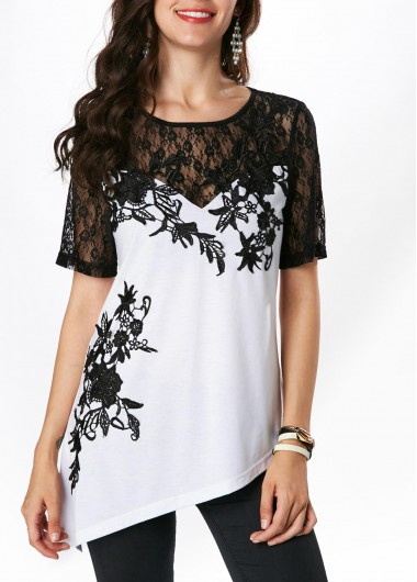 Lace Patchwork Round Neck Short Sleeve Blouse