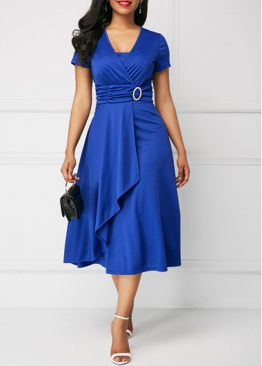 Asymmetric Hem Royal Blue Short Sleeve Dress