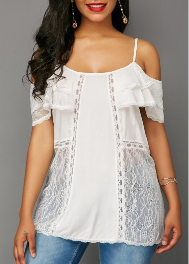Lace Panel Strappy Cold Shoulder White Blouse