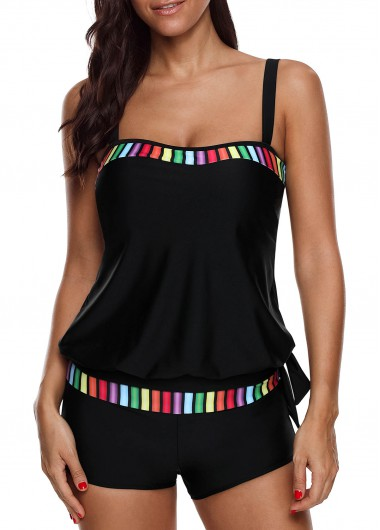 Tie Side Blouson Tankini Top and Shorts