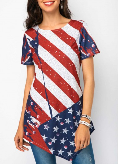 Women's 4Th Of July Patriotic Shirt Stripe Print Asymmetric Hem Short Sleeve T Shirt - M