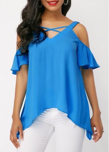 Cold Shoulder Criss Cross Blue Blouse