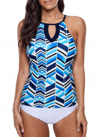 Printed Keyhole Neckline Tankini Top and White Panty