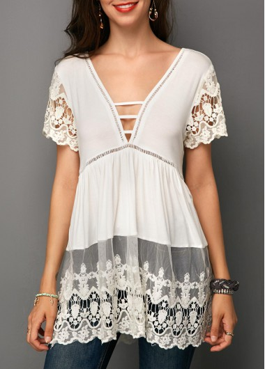 Lace Panel Strappy Front White Blouse