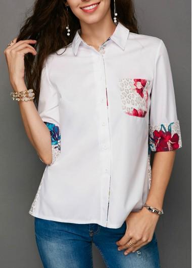 Turndown Collar Half Sleeve Pocket Printed Blouse