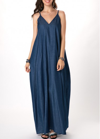 Spaghetti Strap V Back Denim Blue Maxi Dress