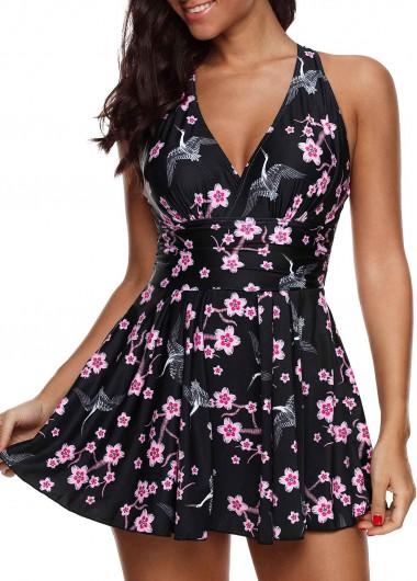 Modlily Black Floral Swimdress Floral Print Strappy Back Swimdress And Shorts - XL