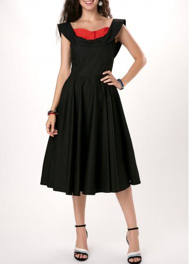 Bowknot Detail High Waist Patchwork Black Dress